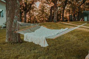 white textile on hammock